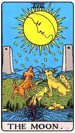 The Moon tarot card and Pisces
